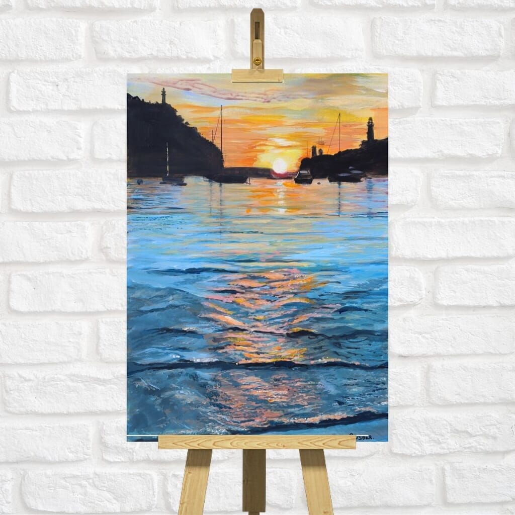 The sun setting at Port de Soller Majorca