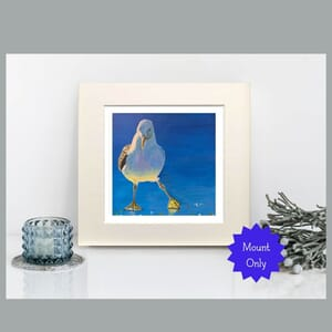 Seagull Art Print in Square Mount