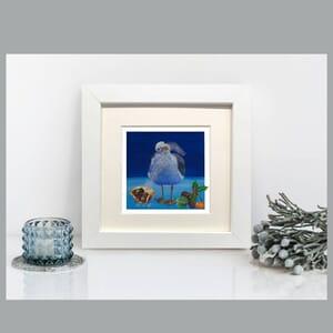 Seagull Art Print in Square Frame - Festive Art