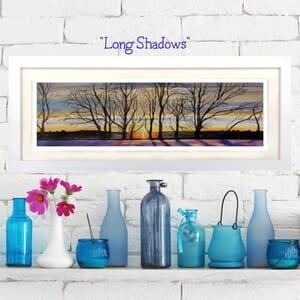 Winter Sunset Through Trees- Art Print in Frame