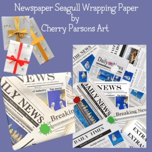 Wrapping Paper -seagull newspaper design