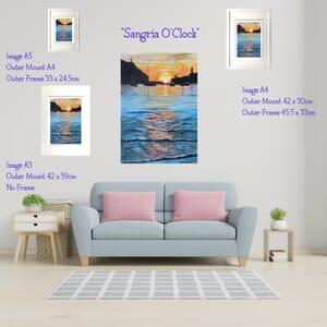 Sunset over harbour- Art Print in Frame -