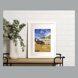 Boat on Jersey beach - Art Print in Frame -