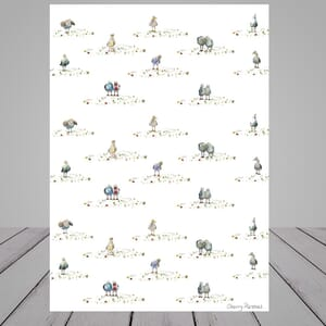 White Wrapping Paper -seagull design