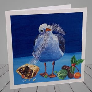 Greeting Card -  Seagulls in snow -