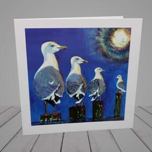 Greeting Card - Seagulls socially distancing -