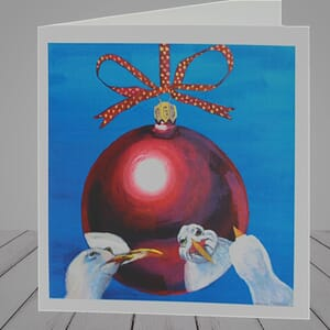 Greeting Card -  Seagull Christmas Card -