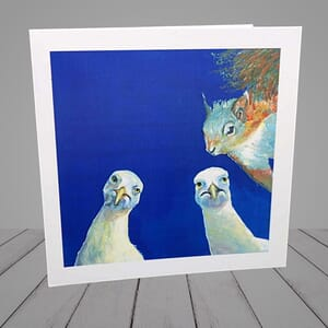 Greeting Card -  seagulls and squirrel