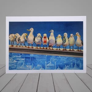 Greeting Card -   Lunch over Brighton - Seagull Card-