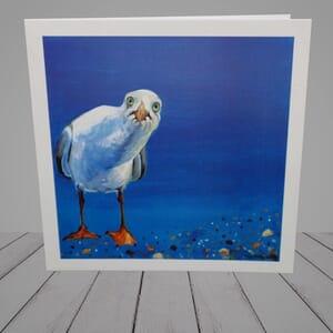 Greeting Card -  Funny Seagull coastal art-